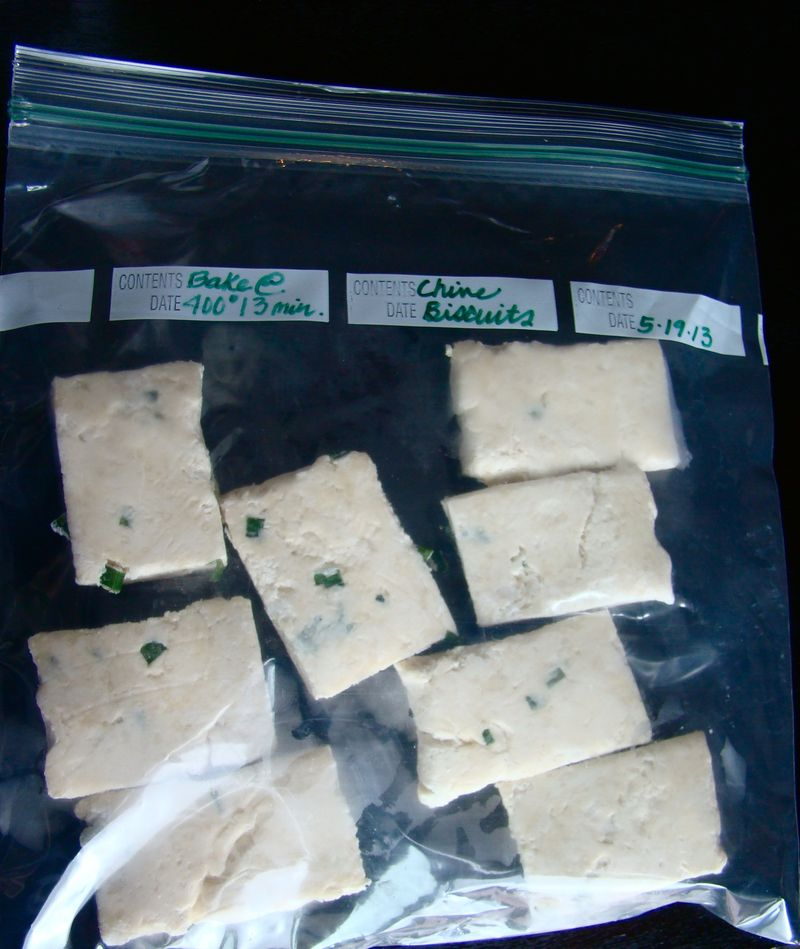 freezer items, chive biscuits
