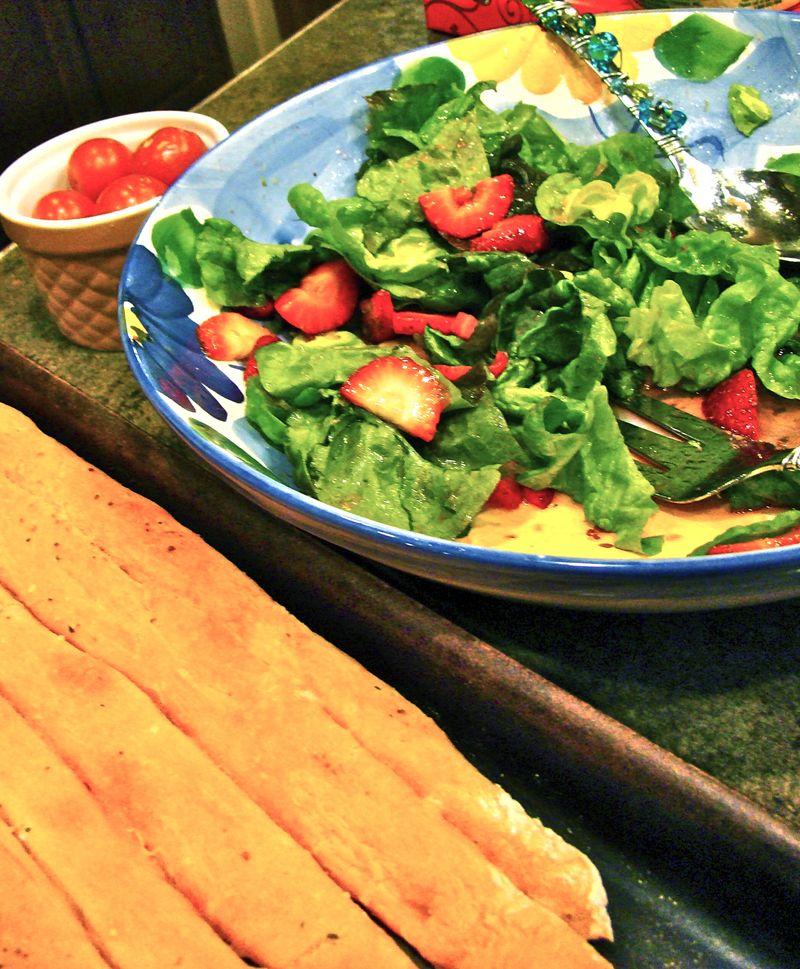 Strawberry Spinach Salad, Breadsticks