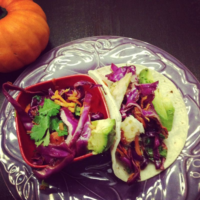 fish tacos with cranberry slaw
