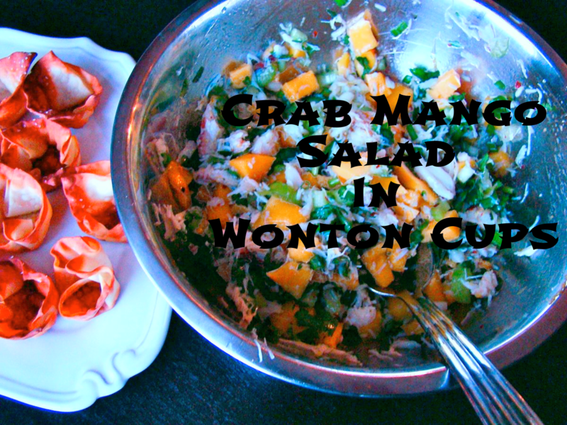 crab mango salad in wonton cups WhatMattersMostNow Blog